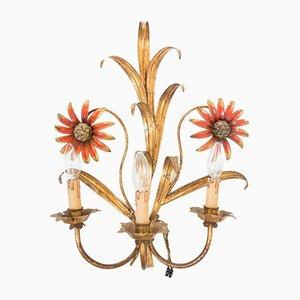 Französische Mid-Century Wandlampe aus Metall in Sonnenblumen-Optik