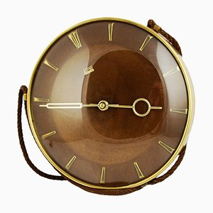 German Brussel Style Mechanical Wall Clock from UPG Halle, 1950s