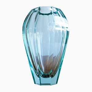 Jarrón de cristal Mid-Century de Moser Karlovy Vary, años 50