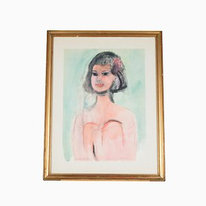 Italian Watercolor Print by Bruno Cassinari, 1970s