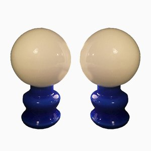 Lampade da tavolo in vetro blu, anni '70, set di 2