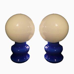 Lámparas de mesa de vidrio azul, años 70. Juego de 2
