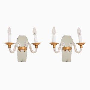 Lámparas de pared francesas vintage de vidrio y espejo. Juego de 2