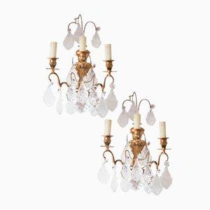 Französische Vintage Wandlampen aus Kristallglas, 2er Set