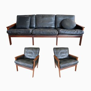 Danish Rosewood & Leather Living Room Set by Illum Wikkelso for Niels Eilersen, 1960s