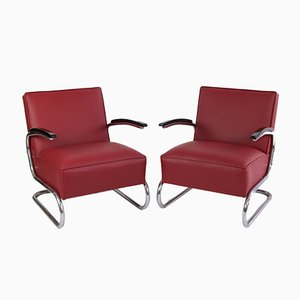 Wine Red Cantilever Chair from Thonet, 1930s