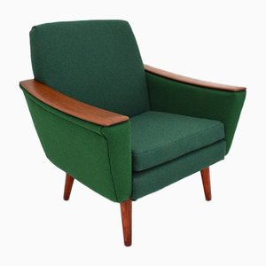 Vintage Danish Green Wool & Teak Armchair, 1960s