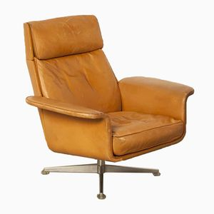 Swedish Leather Swivel Chair, 1970s