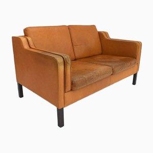 Braunes dänisches Vintage 2-Sitzer Ledersofa von Stouby, 1960er