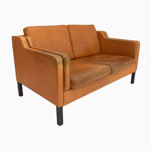 Vintage Danish Brown Leather 2 Seater Sofa from Stouby, 1960s