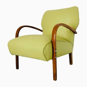 Italienischer Mid-Century Armlehnstuhl aus Eco-Leder, 1950er