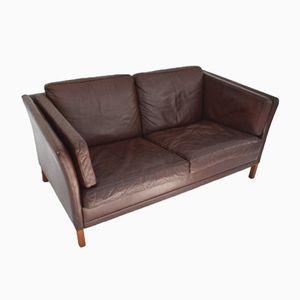 Vintage Danish Dark Brown Leather 2 Seater Sofa, 1960s
