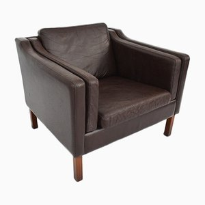 Vintage Danish Dark Brown Leather Armchair, 1960s