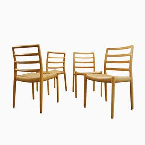 Model 85 Papercord & Oak Dining Chairs by Niels O. Møller for J.L. Møllers, 1980s, Set of 4