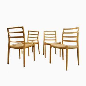 Modell 85 Esszimmerstühle aus Papierkordel & Eiche von Niels O. Møller für JL Møllers, 1980er, 4er Set