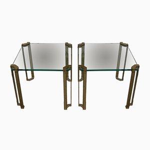 Tables d'Appoint en Laiton et Verre, 1970s, Set de 2