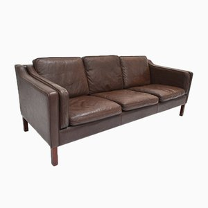 Danish Dark Brown Leather 3 Seater Sofa, 1960s