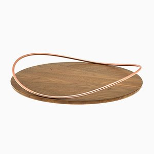 Touché E Tray in Walnut Canaletto Wood by Martina Bartoli for Mason Editions