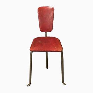 Silla auxiliar vintage trípode de cuero sintético rojo, años 60
