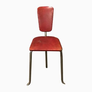 Vintage Red Leatherette Tripod Side Chair, 1960s