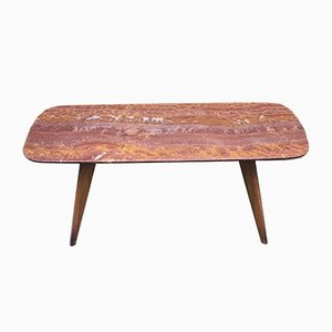 Italian Red Marble & Wood Coffee Table, 1950s