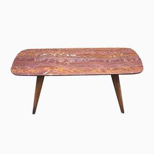 Tavolino da caffè in marmo rosso e legno, Italia, anni '50