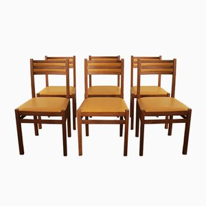 Vintage Italian Beech & Skai Chairs, 1970s, Set of 6