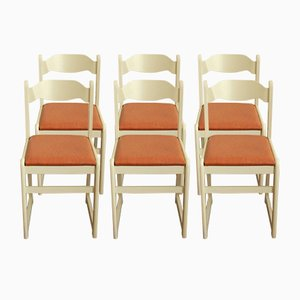 Vintage Italian Beechwood and Skai Chairs, 1970s, Set of 6