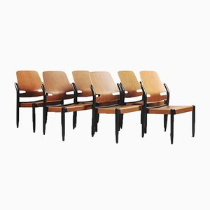 805/3B Mahogany Plywood Åkerbloms Chairs by Gunnar Eklöf for Bodafors, 1950s, Set of 6
