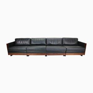 Sofá de cuatro plazas modelo 920 de cuero negro de Afra & Tobia Scarpa para Cassina, años 60