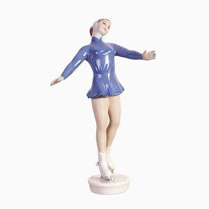 Scultura di pattinatrice su ghiaccio vintage in porcellana di Royal Dux