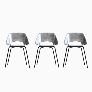 Cast Aluminum Tonneau Chairs by Pierre Guariche, 1950s, Set of 3