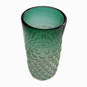 Jarrón vintage de vidrio verde de Archimede Seguso para Venini