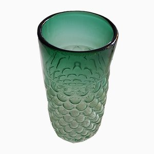 Vase Vintage en Verre Vert par Archimede Seguso pour Venini