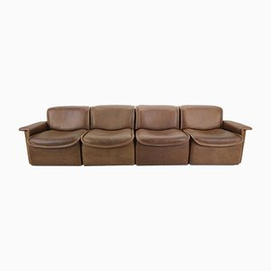 Vintage Brown Leather DS-12 Four-Seat Sofa from de Sede, 1970s
