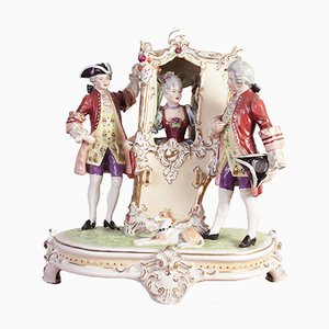 Porcelain Sedan Chair Sculpture from Royal Dux Bohemia, 1910s