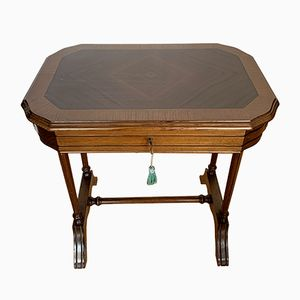 Oak & Marquetry Side Table, 1950s