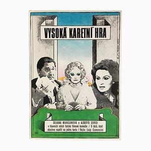 Vintage The Scopone Game Movie Poster by Antonín Sládek, 1977
