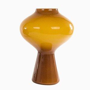 Lampada da tavolo Fungo in vetro soffiato soffiato a mano ambrato di Massimo Vignelli per Venini, anni '60