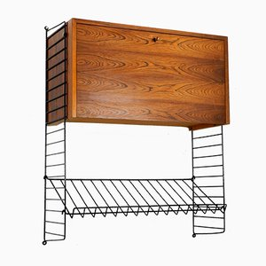 Vintage Wall Unit with Newspaper Rack by Kajsa & Nils Nisse Strinning for String, 1960s