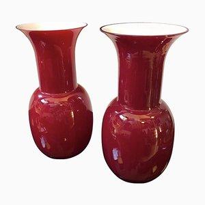 Vases en Verre Murano Opalin Rouge et Blanc de Aureliano Toso, 2000, Set de 2
