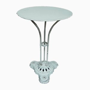 Bistro-Tisch aus Stahl auf Gusseisen-Gestell, 1930er