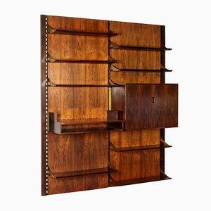 Italian Rosewood Veneer & Brass Wall Bookcase, 1960s