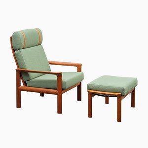 Danish Set with Teak Armchair & Footstool from Komfort, 1970s