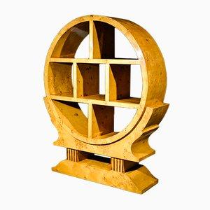 Art Deco Bifacial Elm Sphere Bookcase, 1930s