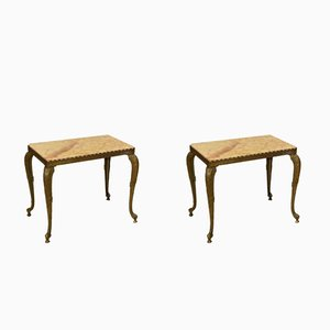 Brass Side Tables with Marble Top, 1950s, Set of 2