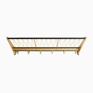 Mid-Century Golden & Black Wall Coat Rack