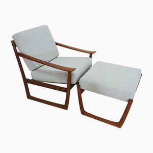 FD130 Armchair & Ottoman Set by Peter Hvidt & Orla Mølgaard-Nielsen for France & Søn, 1970s