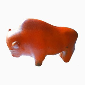 Mid-century Ceramic Buffalo Sculpture by Kurz Tschörner for Ruscha, 1960s