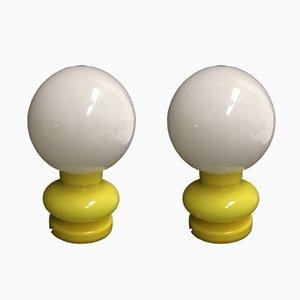 Lampade in vetro giallo di gcme, anni '80, set di 2